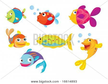 Vector - illustration of a many different tropical fish