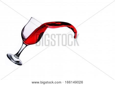 wine glass with splashes on a white background