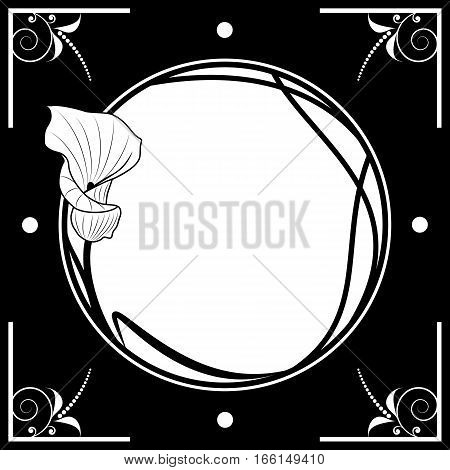 vector floral frame with ilily in black and white colors