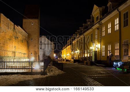 Ancient fortification wall in old Riga - famous European city where tourists can find a unique atmosphere of Middle Ages and famous ensembles of architecture