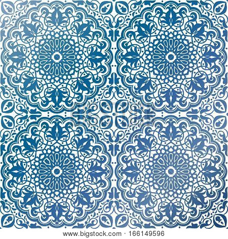 Vector of seamless Islamic ornaments in blue colors