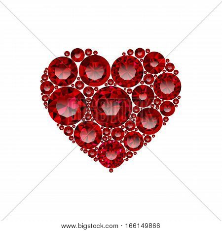 Happy Valentines day vector card. Beautiful heart composed from red round cut rubies isolated in white background. Holiday poster with shining red jewels. Concept for banner, flayer, invitation