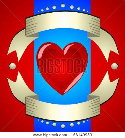 Beautiful shiny red sign - Hearts in a frame of gold ribbons. Card suits. Beautiful illustration for a casino tricks and games.