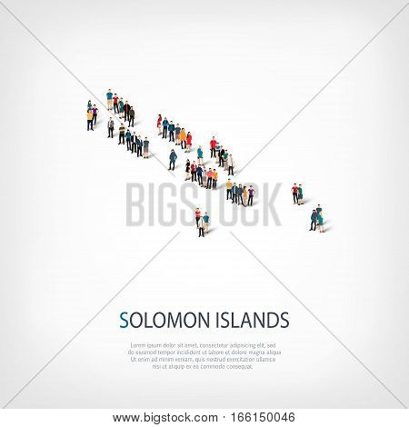 Isometric set of styles, people, map of Solomon Islands, country, web infographics concept of crowded space, flat 3d. Crowd point group forming a predetermined shape. Creative people. Vector illustration. Photo vector.3D illustration. White background . I