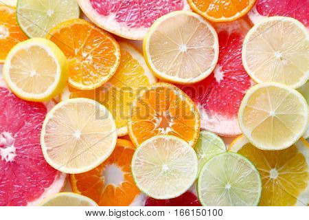 The Sweet citrus fruits background, close up