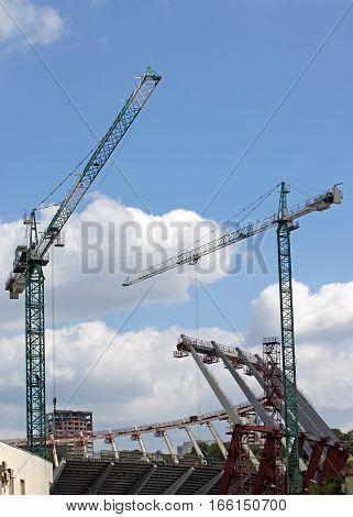 Construction works of Kyiv's Olympic stadium, Ukraine