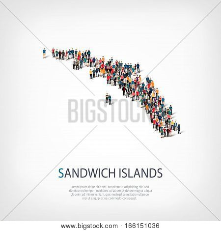 Isometric set of styles, people, map of South Georgia, country, web infographics concept of crowded space, flat 3d. Crowd point group forming a predetermined shape. Creative people. Vector illustration. Photo vector.3D illustration. White background . Iso