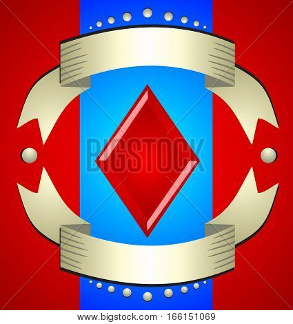 Beautiful shiny red sign - diamonds in a frame of gold ribbons. Card suits. Beautiful illustration for a casino tricks and games.