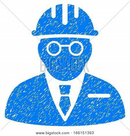 Blind Engineer grainy textured icon for overlay watermark stamps. Flat symbol with dust texture. Dotted vector blue ink rubber seal stamp with grunge design on a white background.