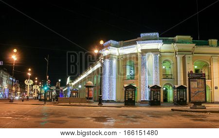 St. Petersburg, Russia - 7 January, Decorated column Gostiny Dvor, 7 January, 2017. Night of St. Petersburg in the New Year and Christmas holidays.