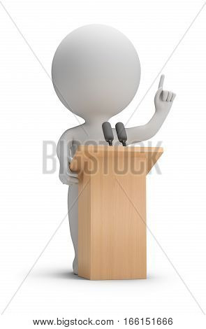 3d small people said it from the podium. 3d image. White background.