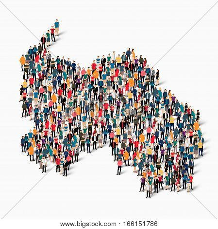 Isometric set of styles, people, map of South Ossetia, country, web infographics concept of crowded space, flat 3d. Crowd point group forming a predetermined shape. Creative people. Vector illustration. Photo vector.3D illustration. White background . Iso