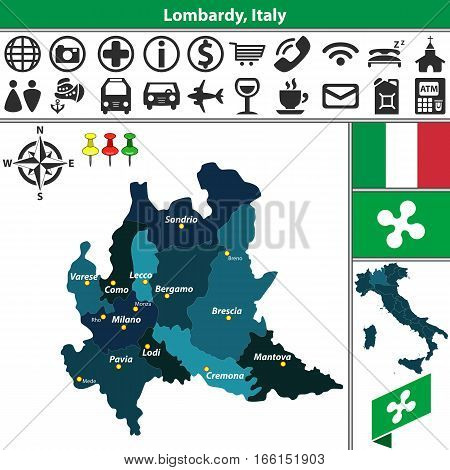 Lombardy With Regions, Italy