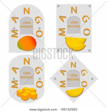Abstract vector illustration of logo for the theme of the yellow fruit mango