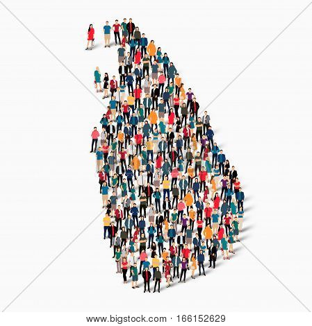 Isometric set of styles, people, map of Sri Lanka, country, web infographics concept of crowded space, flat 3d. Crowd point group forming a predetermined shape. Creative people. Vector illustration. Photo vector.3D illustration. White background . Isolate