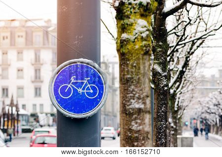 Bike lane signs mounted on utility poles in the city center.