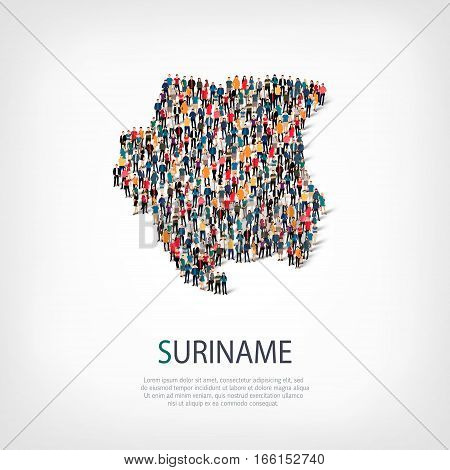 Isometric set of styles, people, map of Suriname, country, web infographics concept of crowded space, flat 3d. Crowd point group forming a predetermined shape. Creative people. Vector illustration. Photo vector.3D illustration. White background . Isolated