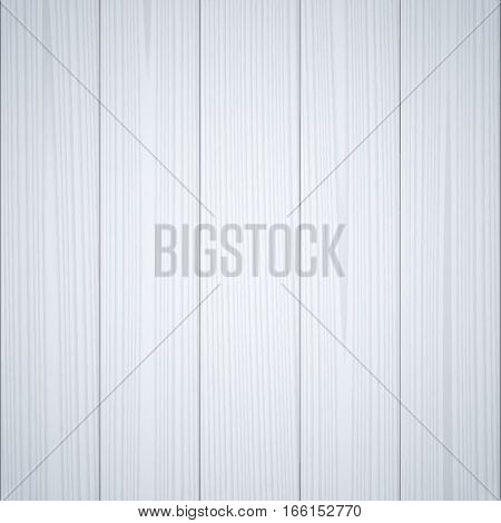 Light gray wood texture background. Wooden surface grained table floor. Graphic design element for scrapbooking presentation web page background. Realistic vector illustration.