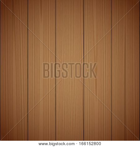 Dark brown wood texture background. Wooden surface grained table floor. Graphic design element for scrapbooking presentation web page background. Realistic vector illustration.