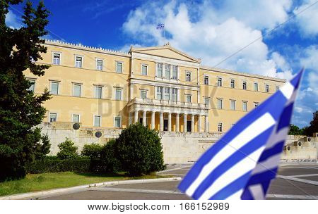 Athens Greece the parliament on Syntagma square with Greece flag