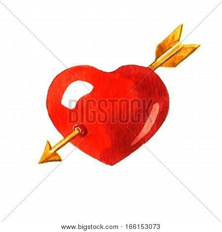 Heart pierced by an arrow Cupid. Watercolor