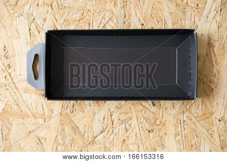close up of a empty black box