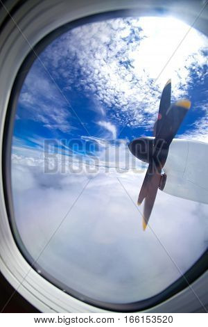 Airplane's air propeller on sky background. Travel concept