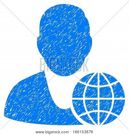 Global Manager grainy textured icon for overlay watermark stamps. Flat symbol with unclean texture. Dotted vector blue ink rubber seal stamp with grunge design on a white background.