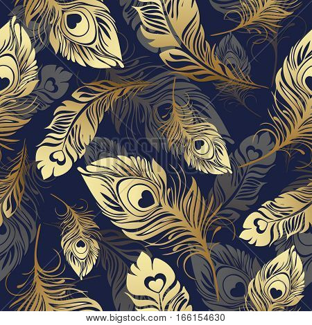 Gold Feathers Seamless Pattern. Rich , Luxury Design, Expensive Jewelry. For Use In Textile , Print,