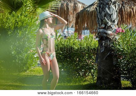 brunette woman in bikini and hat on a background of palm trees
