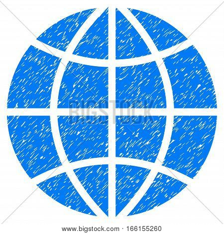 Planet Globe grainy textured icon for overlay watermark stamps. Flat symbol with dust texture. Dotted vector blue ink rubber seal stamp with grunge design on a white background.