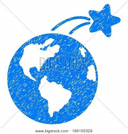 Rising Satellite On Earth grainy textured icon for overlay watermark stamps. Flat symbol with unclean texture. Dotted vector blue ink rubber seal stamp with grunge design on a white background.