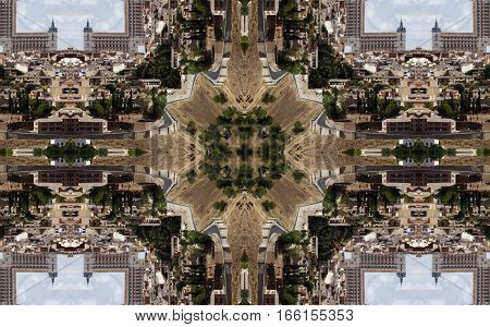 geometric composition of city of Toledo, Spain,  kaleidoscopic picture, creative photographs of Toledo,  Religious buildings surreal photography,