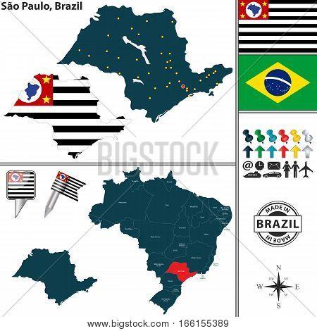 Map Of Sao Paulo, Brazil