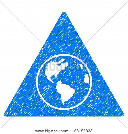 Terra Triangle grainy textured icon for overlay watermark stamps. Flat symbol with dust texture. Dotted vector blue ink rubber seal stamp with grunge design on a white background.