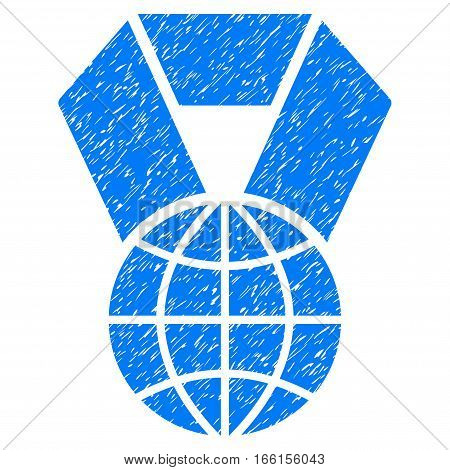 World Award grainy textured icon for overlay watermark stamps. Flat symbol with scratched texture. Dotted vector blue ink rubber seal stamp with grunge design on a white background.