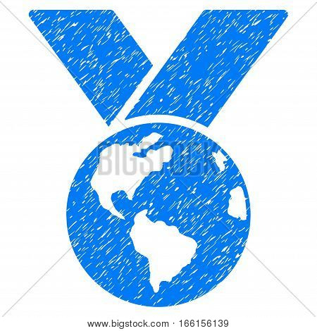 World Medal grainy textured icon for overlay watermark stamps. Flat symbol with scratched texture. Dotted vector blue ink rubber seal stamp with grunge design on a white background.