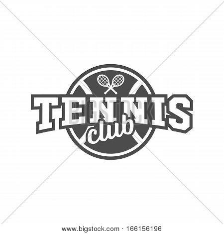 Tennis badge logotype template. Club emblem, college league logo, one color design elements, sport tournament, contest, tug, rush, competition