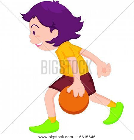 illustration of boy playing tenpin bowling