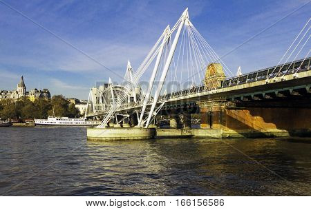 London United Kingdom-November 11 2016: The Millennium Bridge is a steel suspension bridge for pedestrians crossing the River Thames in London linking Bankside with the City of London. It is located between Southwark Bridge and Blackfriars Railway Bridge