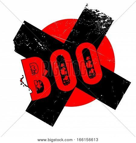 Boo rubber stamp. Grunge design with dust scratches. Effects can be easily removed for a clean, crisp look. Color is easily changed.