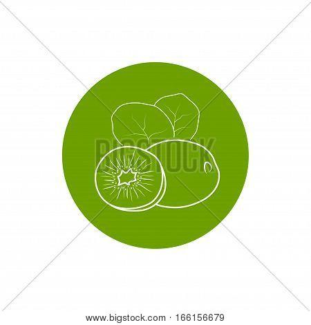Kiwifruit Colorful Round Ico,n Kiwi Fruit Icon, Chinese Gooseberry