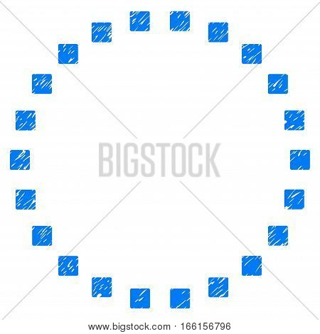 Dotted Circle grainy textured icon for overlay watermark stamps. Flat symbol with dust texture. Dotted vector blue ink rubber seal stamp with grunge design. Designed with square dots.