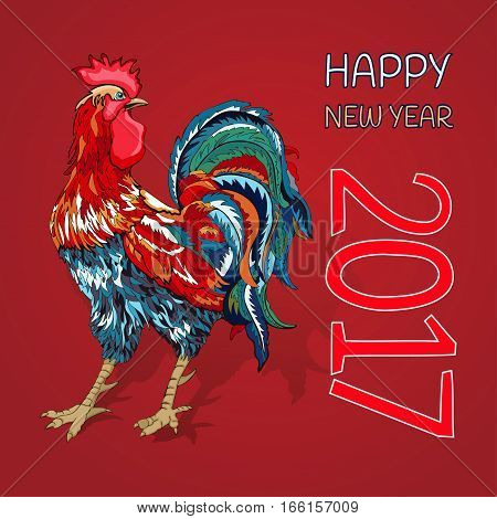 Happy New Year, Fiery Red Rooster A Symbol Of 2017.   Greeting Card With    Bright Colorful Feathers