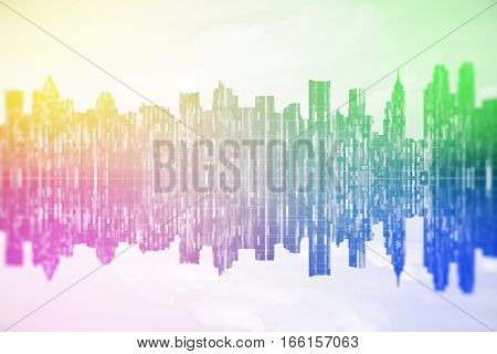 Abstract rainbow cityscape with reflections. Close up.