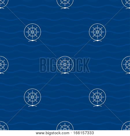 Seamless Pattern with a Ship's Wheel on a Background of Waves, a Ship's Wheel in the Middle of a Rope on a Blue Background, Pattern with Marine Element for Web Design or Wallpaper or Fabric