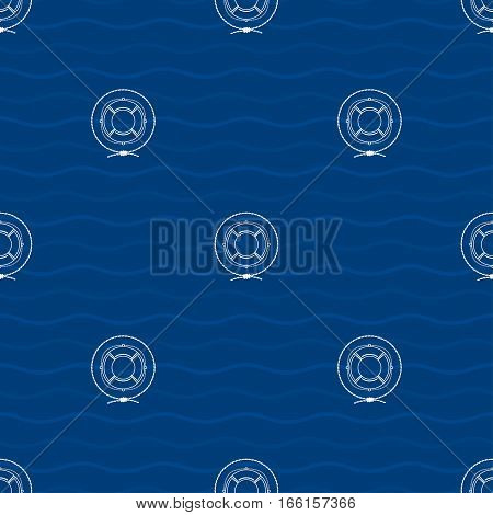 Seamless Pattern with a Lifebuoy on a Background of Waves, a Lifeline in the Middle of a Rope on a Blue Background, Seamless Pattern with Marine Element for Web Design or Wallpaper or Fabric