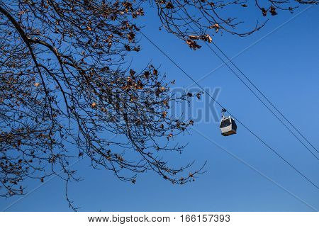 Cableway on background of sky and tree crown