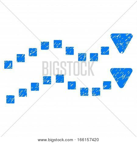 Dotted Trend Lines grainy textured icon for overlay watermark stamps. Flat symbol with dirty texture. Dotted vector blue ink rubber seal stamp with grunge design. Designed with square dots.