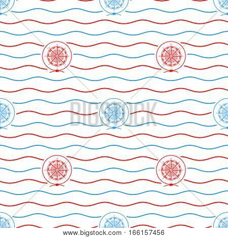Seamless Pattern with Compass Rose, Emblem Blue and Red Wind Rose on a Background of Red and Blue Waves, Seamless Pattern with Marine Element for Web Design or Wallpaper or Fabric